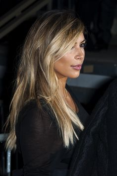 Kim kardashians balayage was on point! Blonde hair kim k makeup