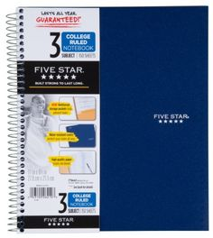 Five Star Wirebound Notebook, 3-Subject, 150 College-Ruled Sheets, 11 x 8.5 Inch Sheet Size, Assorted Colors (06210) Five Star http://www.amazon.com/dp/B00006IDML/ref=cm_sw_r_pi_dp_Mtq6tb1WDB2K0