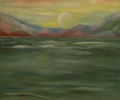 Olej na płótnie. Morze namalowane w tonacji zieleni.