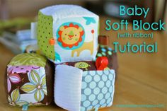 """Soft Baby Blocks from 4"""" x 4"""" fabric scraps!  Wish I had found this sooner.  Maybe Gramma will be inspired to make these for Baby Boy.  :-)"""