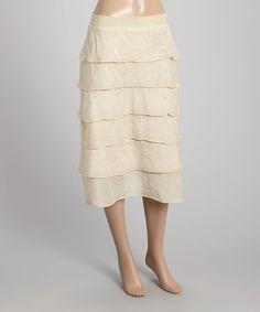 Loving this Champagne Ruffle Silk-Blend Midi Skirt on #zulily! #zulilyfinds