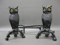 Antique Cast Iron Owl Fireplace Andirons - shopgoodwill.com