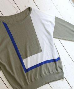 FIL DE FER(フィルデフェール)のカラーブロックインターシャ 7分袖プルオーバー(ニット/セーター)|詳細画像