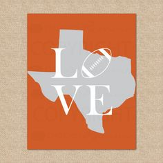 Texas Longhorns Football Print  UT University of by PaperRamma, $20.00