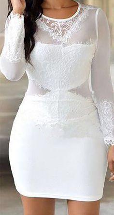 Sexy O Neck Long Sleeves Mesh Patchwork White Spandex Sheath Mini Dress