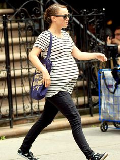 Maternity Style. Stripes. Parisian Chic. Natalie Portman.