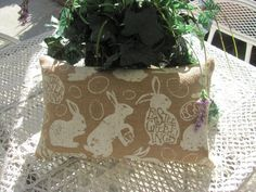 Plump Easter Bunny Burlap Pillow, Happy Easter Decor 2ET by THISPLUSTHAT on Etsy