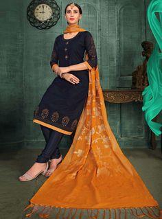 Navy Blue Chanderi Silk Readymade Kameez With Churidar 129886 Churidar, Salwar Kameez, Navy Blue, Sari, Collection, Fashion, Saree, Moda, Shalwar Kameez