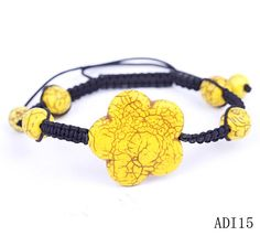 $1.99  Yellow Flower Stone Bracelets Jewelry Gift Nylon Beads #Eozy
