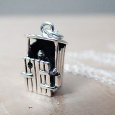 OUTHOUSE movable Sterling Silver Charm with a Sterling by AgHalo