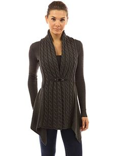PattyBoutik Women's Buckle Braid Front Cardigan (Dark Gray S): PattyBoutik Long Sleeve Asymmetrical Hem Buckle Braid Cable Knit Front Cardigan. Model in pictures is 5 feet 8 inches tall wearing size S. Warm Sweaters, Casual Sweaters, Casual Outfits, Fashion Outfits, Womens Fashion, Work Outfits, Fashion Trends, Cardigan Fashion, Wool Cardigan