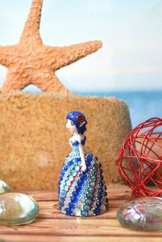 "Miniature ""Sea Breeze"", little figurine, little doll, fantasy figurine, mini anime figurine, dress of rhinestones, cute gift, souvenir sea"