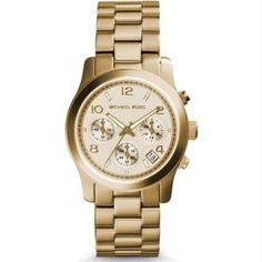 100% Authentic Michael Kors Gold MK 5055 Watch 100% Authentic Michael Kors Gold MK 5055 Watch. Does have minimal discoloration. Can barely be seen but please keep this in mind and see all photos / ask all questions before purchasing. No returns!  -Water resistant -stainless steel w/ gold iconic plating -trifold buckle with lock closure -adjustable (I will include all links) -three eye chronograph dial Michael Kors Jewelry