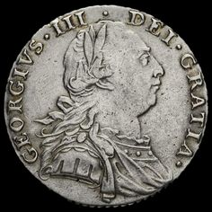 1787 George III Early Milled Silver Shilling, No Hearts, VF