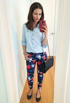 Floral pants chambray shirt and flats for work