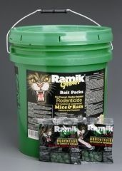 NEOGEN RODENTICIDE 60-Pack Ramik Rat and Mouse Bait Pail, 4-Ounce by NEOGEN RODENTICIDE. $73.45. All weather bait kills rats and mice indoors and outdoors. All weather bait kills rats and mice indoors and outdoors.. Fish flavored and high protein appeal to attract rodents. Big green pail contains 60 of the 4 oz. bait packs. Ramik label. All weather bait kills rats and mice indoors and outdoors. Bait combines food processing technology and patented procedures to create an unusu...