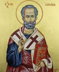 Byzantine icon of Saint Barnabas, born Joseph, was one of the earliest Christian disciples in Jerusalem.  Icon by Ikon Atelier. www.ikonatelier.com.au
