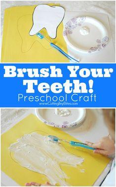 Dental Health Preschool Craft-- Brush Your Teeth!  Fun process art activity to…