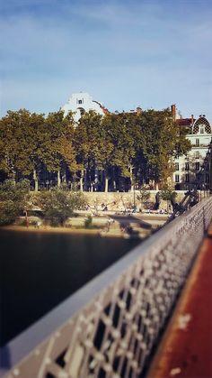 Les berges du Rhône depuis la passerelle du collège