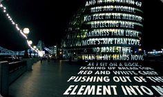 Light Projection on a London building. Jenny Holzer. 2006. London.