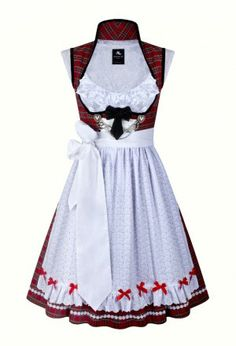 Dirndl Grace 240 Tartan red with red ribbons and velvet pipings