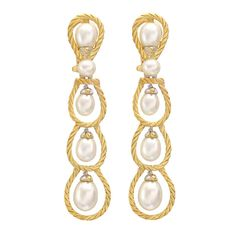 """BUCCELLATI """"Rete"""" Pearl Drop Earrings ; Multi-loop pendant earrings, with small drop pearls at each center and single button-shaped pearl above, with ten pearls total, mounted in hand-carved 18k yellow and white gold, signed Buccellati."""