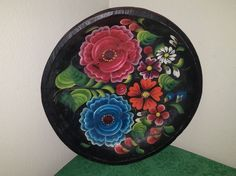 """:D❤️Vtg MEXICAN BATEA Hand Painted Carved Wooden Folk Art Bowl Tray Plate~11 1/4"""""""