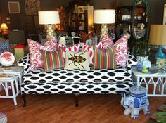 Furbish Studio, ikat chippendale sofa, rainbow velvet pillows, jamie meares #daretomix