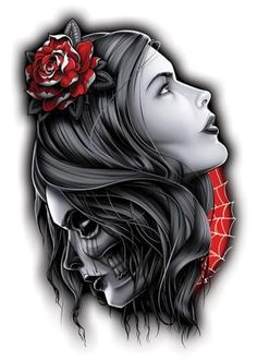 Black and Red Temporary Tattoo Set - 2 Head Temporary Tattoo – Negro y Gris Black and Grey Tattoos - Red Tattoos, Skull Tattoos, Body Art Tattoos, Girl Tattoos, Sleeve Tattoos, Tattoos For Guys, Spine Tattoos, Abdomen Tattoo, Shoulder Tattoos