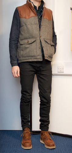 MaximHarper is wearing: Uniqlo Flannel '13, All Saints Iwate Denim Jacket, Asos Gilet, Naked & Famous Skinny Guy Black Power, Red Wing 1907 ...