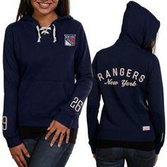 Old Time Hockey New York Rangers Ladies Navy Blue Queensboro Lace-Up Pullover Hoodie Sweatshirt