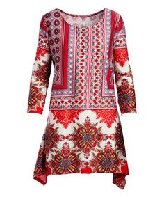 This Red & Pink Arabesque Sidetail Tunic - Plus is perfect! #zulilyfinds