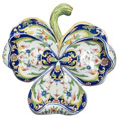 French Faience of Desvres, Large Clover Wall pocket, Signed | From a unique collection of antique and modern delft and faience at http://www.1stdibs.com/dining-entertaining/delft-faience/