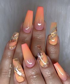 Ombre pink and orange and gold glitter on almond nails - 40 Fabulous Nail Designs That Are Totally in Season Right Now - clear nail art designs,almond nail art design, acrylic nail art, nail designs with glitter cutenails Fabulous Nails, Gorgeous Nails, Pretty Nails, Pretty Makeup, Best Acrylic Nails, Acrylic Nail Art, Autumn Nails Acrylic, Fire Nails, Fall Nail Colors
