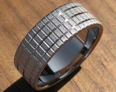 Titanium Woven Texture Ring