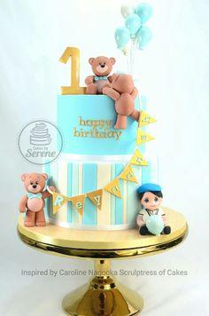 Little boy bears cake