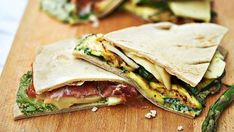 Piadinas two ways with hand cut pesto Canned Pumpkin, Pumpkin Puree, Easy Healthy Recipes, Easy Meals, Caesar Pasta Salads, I Want To Eat, Ham And Cheese, Roasted Vegetables, Italian Recipes