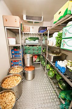 Interior of a restaurant or hotel walk-in refrigerator or cold storage room.