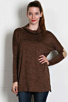 Heather Knit Cowl Neck Long Sleeve Top - buy it now at kyootklothing.com