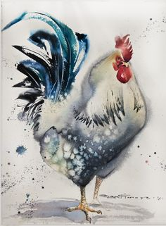 View Olga Flerova's Artwork on Saatchi Art. Find art for sale at great prices from artists including Paintings, Photography, Sculpture, and Prints by Top Emerging Artists like Olga Flerova. Rooster Painting, Rooster Art, Chicken Painting, Chicken Art, Art Watercolor, Watercolor Animals, Arte Pop, Art And Illustration, Watercolor Techniques