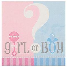 Partido único género revela Baby Shower de papel Servilletas (paquete de 20)