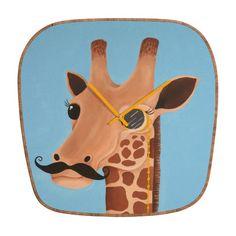 DENY Designs Mandy Hazell Gentleman Giraffe Clock | Wayfair