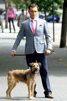 Chuck Bass with a super-cute dog. Did you Know that ....? Real lion was living with famous actress family. Check this http://www.leonknife.com
