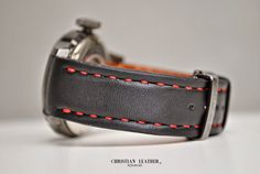 Handmade  Leather  Strap for  BREILTRIBE  Watch Hand crafted, hand stitched. Business inquiries & orders at: ~ c. Handmade Leather, Hand Stitching, Black Leather, Husband, Watches, Business, Red, Instagram, Wristwatches