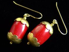 Coral Flower Capsule Earrings Happy Red Capped by pinkowljewelry