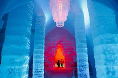 """Dream away with our ice hotel named """"Hôtel de Glace"""". This unusual lodging is the only ice accommodation in America. See our packages and book your night. Ice Hotel Quebec, Quebec City, Frozen Disney, Virgin Atlantic, Tourist Sites, Hotel Stay, Snow And Ice, Guy Pictures, North America"""