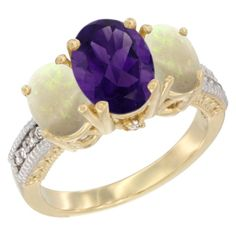 14K Yellow Gold Diamond 3-Stone Amethyst Rings Wholesale - Afford Price: Contact Us @ (213) 689-1488