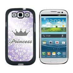 Princess Crown Purple Damask - Spoiled Galaxy S3 Case, Black