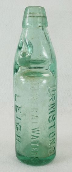 Antique Green Glass Codd Bottle W Marble Artis Capel