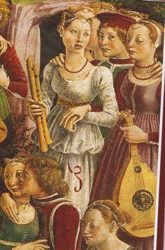 Schifanoia- Illustration du Décameron illustré par l'auteur et par les peintres de son époque (Diane de Selliers ed) Fresques du Palais Schifanoia de Ferrare. Triomphe de Vénus, détail. 1469-1470 par Francesco del Cossa, Salon des Mois.